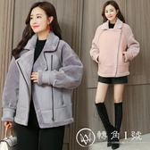 2018新款棉衣外套女冬 短款韓版鹿皮絨皮毛一體仿羊羔毛加厚皮衣