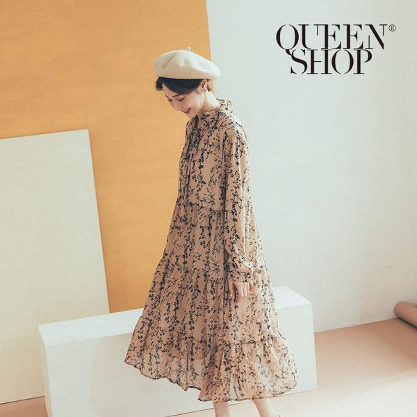 Queen Shop【01084779】滿版樹葉印花雪紡長洋裝*現+預*