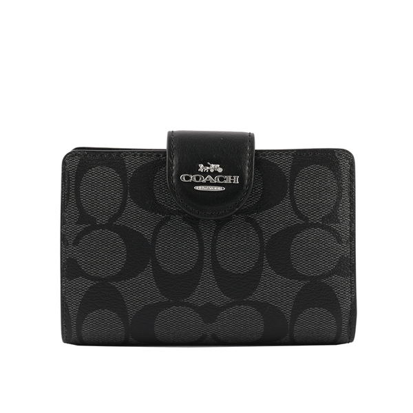 【COACH】皮革+PVC塗層馬車Logo壓釦中夾(黑灰色) C0082 SVDK6