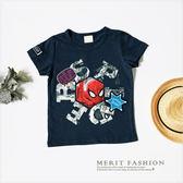 美式卡通蜘蛛人刺繡徽章T恤 短袖 上衣 短T 字母 韓版 休閒 美式 英雄 男童 哎北比童裝
