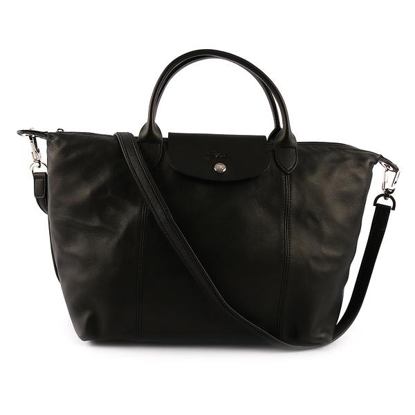 【LONGCHAMP】M號小羊皮二用折疊包(黑色) 1515 737 001
