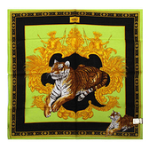 VERSACE古典老虎圖紋純棉手帕領巾(蘋果綠)989017-28
