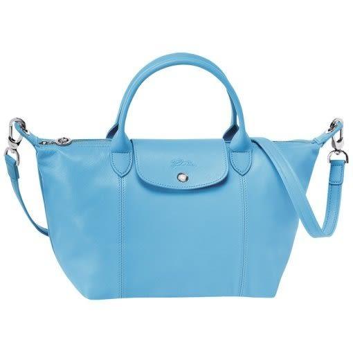 LONGCHAMP小羊皮 Le Pliage Cuir S款 粉藍色(附背帶)手提/側背水餃包