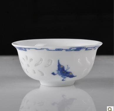 玲瓏釉陶瓷茶杯 瓷質通透手繪功夫茶具