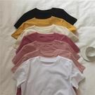 muzi白色圓領短袖T恤女純棉春新款韓版寬鬆顯瘦休閒素色百搭上衣 童趣屋 免運