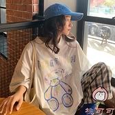 古著感小熊短袖t恤女寬松韓版潮bf半袖超火上衣體恤【桃可可服飾】