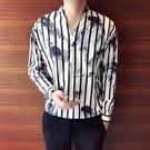 水墨印花襯衫 豎條紋襯衫 立領寬鬆套頭休閒男正韓長袖襯衣