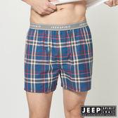 【JEEP】五片式剪裁 純棉平口褲 (湖水藍格紋)