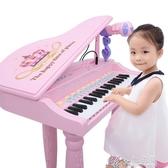 兒童電子琴女孩鋼琴話筒 初學可彈奏充電寶寶益智3-6周歲音樂玩具 【快速出貨】