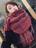 圍巾女冬季網紅款韓版百搭圍脖女加厚保暖針織粗毛線長款格子披肩  魔法鞋櫃