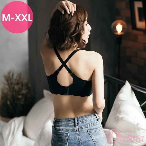 黛瑪Daima (M-XXL) 波浪設計彈性肩帶無痕無鋼圈美背兩穿內衣_黑9115