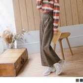 《BA5341》溫暖磨毛配色格紋後腰鬆緊寬褲 OrangeBear