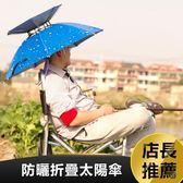 黑五好物節 雙層釣魚傘帽便攜頭戴傘防曬太陽傘折疊