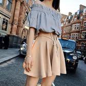2018夏裝新款露肩上衣A字半身裙氣質兩件套裝連身裙女 艾尚旗艦店