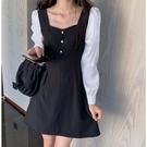 洋裝 長袖 裙子 S-XL新款赫本風V領長袖大碼顯瘦撞色長袖連身裙小黑裙4F069-5034.胖胖唯依二店