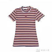短袖針織上衣 條紋短袖t恤女生大碼修身時尚鏤空體恤針織衫夏季上衣服 全館單件9折