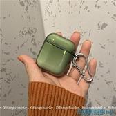 AirPods保護套 夏日簡約適用Airpods保護套氣質綠色2/3代蘋果耳機情侶軟殼時尚 快速出貨