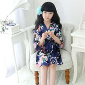女童睡袍睡衣孔雀表演服紅色兒童小和服日式親子真絲手感家居服 檸檬衣捨igo