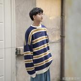 男士毛衣韓版寬鬆撞色條紋圓領港味休閑情侶款冬季針織衫凱斯盾數位3c
