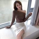 秋裝新款韓版chic舒適一字領斜肩修身長袖T恤上衣針織打底衫女