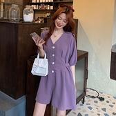 連身褲大碼女裝夏季2021新款洋氣泡泡袖V領收腰顯瘦百搭闊腿連體短褲女 韓國時尚週 免運