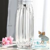 花瓶 創意大號玻璃瓶透明彩色水培富貴竹百合玫瑰豎棱花瓶客廳插花擺件