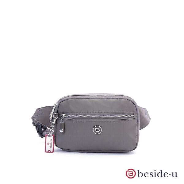 beside u BNUA時尚個性金屬感腰包胸包 – 灰色 原廠公司貨