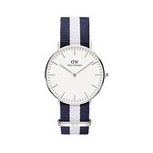 【Daniel Wellington】CLASSIC瑞典時尚品牌經典簡約尼龍腕錶-藍白x銀-40mm/DW00100018/原廠公司貨兩年保固