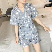 日式和服睡衣女夏棉質短袖韓版學生薄款可外穿家居服兩件套裝 LH1582【3C環球數位館】