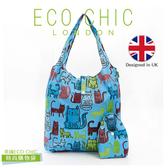 英國ECO CHIC時尚可折疊購物袋-花貓X2