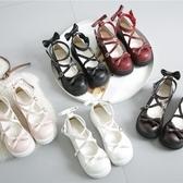 日系洛麗塔厚底女鞋可愛蝴蝶結圓頭娃娃鞋原宿平底軟妹皮鞋