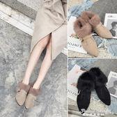 靴子女秋款2017新款百搭棉鞋女冬加絨毛毛鞋尖頭女靴粗跟兔毛短靴·蒂小屋