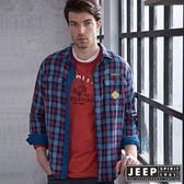 【JEEP】率性百搭美式格紋長袖襯衫 (紅藍)