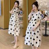洋裝 孕婦裝夏裝洋裝網紅時尚款法式波點過膝長裙長款孕後期衣服