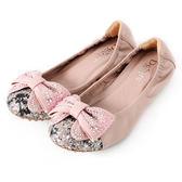 DeSire 蝴蝶結水鑽平底娃娃鞋  -粉