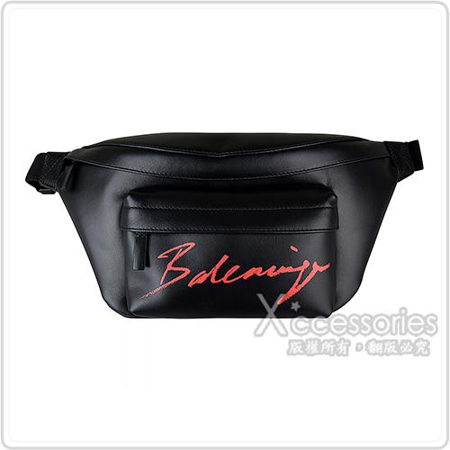 BALENCIAGA巴黎世家紅字LOGO牛皮拉鍊胸腰包(黑)
