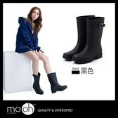 中筒雨鞋 素面 皮帶扣 女士 百搭防水雨靴 mo.oh (歐美鞋款)