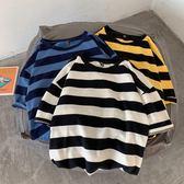 男T恤 夏季新款條紋短袖男寬鬆五分袖T恤男士ins潮流韓版港風情侶上衣 新品