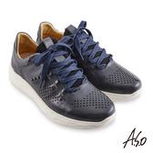 A.S.O 機能休閒 超能耐II代拋色沖孔綁帶休閒鞋 深灰