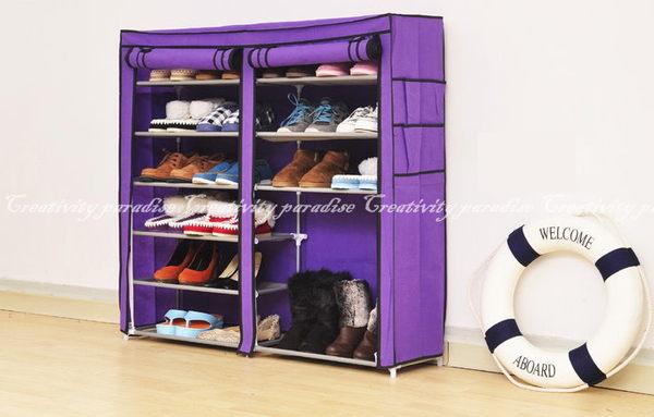 【雙排12格鞋架】超大容量DIY豪華雙門七層鞋櫃收納7層置物架(附防塵套)