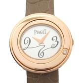 PIAGET 伯爵 鑲單鑽玫瑰金K18PG石英錶殼棕色皮帶腕錶 Posession GOA31091 BRAND OFF