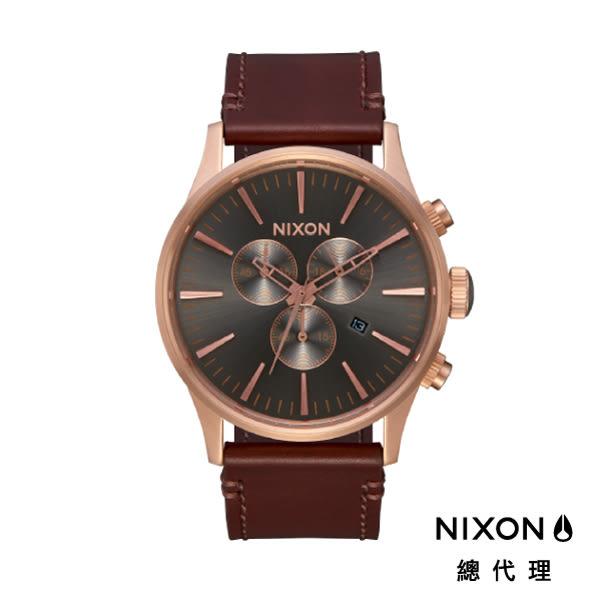 NIXON手錶 原廠總代理 A405-2001 THE Sentry Chrono Leather咖色 潮流時尚皮錶帶 男女 運動 生日情人節禮物
