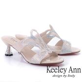 ★2019春夏★Keeley Ann造型透視跟 鏤空網紗水鑽拖鞋(裸色)-Ann系列
