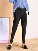 毛呢褲子女秋冬2020新款韓版高腰寬鬆小腳加絨外穿休閒哈倫蘿卜褲