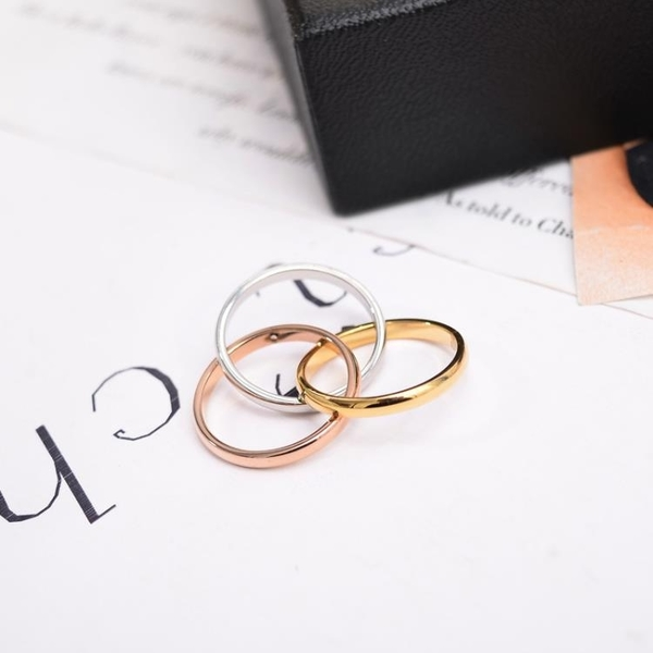 歐美風三環三色彩金戒指女款鍍金食指環戒子鈦鋼不褪色百搭首飾品