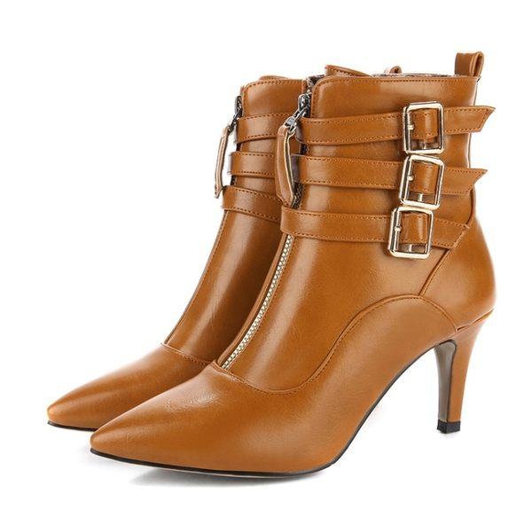 丁果、大尺碼女鞋34-44►甜美尖頭高跟短靴子馬丁靴*4色