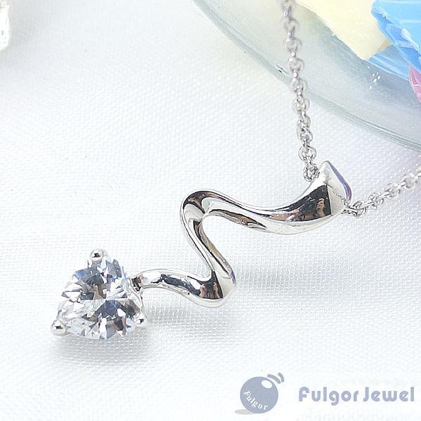 FU飾品 流行飾品 生日情人節母親節 禮物 贈品 白色愛心鋯石項鏈【Fulgor Jewel】