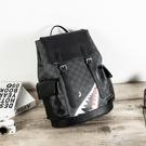新款韓版後背包皮質大容量男女潮流格子背包旅行包學生書包電腦包  一米陽光