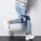 FINDSENSE H1日本 四季款 新款 潮男 撞色破洞 淺色牛仔褲 哈倫褲