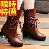 馬丁靴-粗跟平跟厚底真皮保暖中筒女靴子3色65d55【巴黎精品】